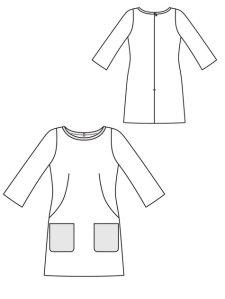 Burda Shift Dress Line Drawing